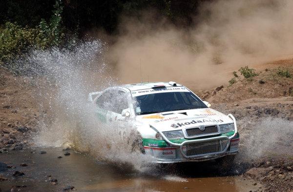 2002 World Rally Championship.Safari Rally, Nairobi Kenya, July 11-14th.Roman Kresta splashes through section two.Photo: Ralph Hardwick/LAT