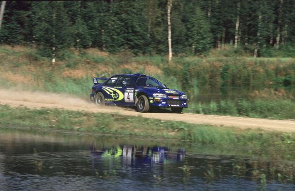 WRC Neste Rally of Finland 200017th - 20th August 2000. Rd 9/13.Juha Kankunen - Subaru. 8th position, action.Photo:McKlein/LATRef 35mm A02