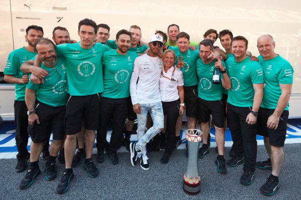 Circuit de Catalunya, Barcelona, Spain. Sunday 14 May 2017. Lewis Hamilton, Mercedes AMG, 1st Position, celebrates with his team. World Copyright: Steve Etherington/LAT Images ref: Digital Image SNE12754