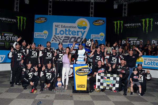NASCAR Camping World Truck Series North Carolina Education Lottery 200 Charlotte Motor Speedway, Concord, NC USA Friday 19 May 2017 Kyle Busch, Cessna Toyota Tundra celebrates his win in Victory Lane World Copyright: Nigel Kinrade LAT Images ref: Digital Image 17CLT1nk04911