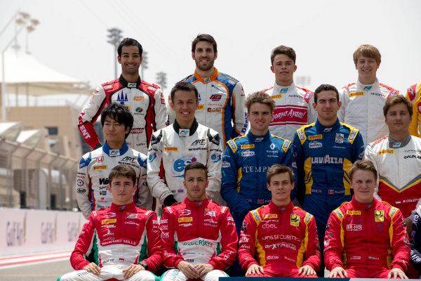 2017 FIA Formula 2 Round 1. Bahrain International Circuit, Sakhir, Bahrain.  Thursday 13 April 2017. Class photo on the grid. Photo: Zak Mauger/FIA Formula 2. ref: Digital Image _56I8922