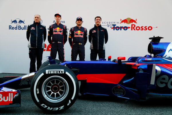 Toro Rosso STR12 Formula 1 Launch. Barcelona, Spain  Sunday 26 February 2017. Daniil Kvyat, Toro Rosso. and Carlos Sainz Jr, Toro Rosso.  World Copyright: Dunbar/LAT Images Ref: _X4I9919