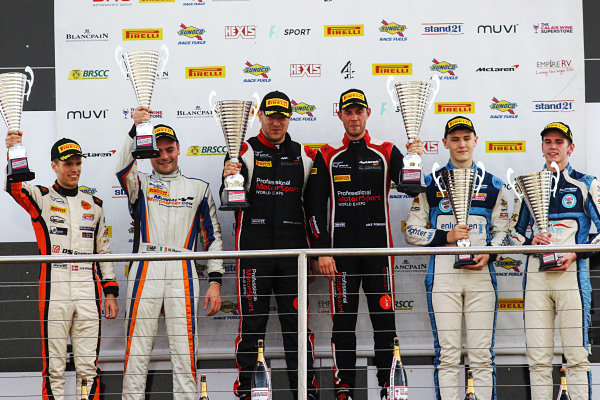 2017 British GT Championship, Donington Park, Leicestershire. 23rd - 24th September 2017. GT4 Podium (l-r) Niall Murray / Jacob Mathiassen - Century Motorsport - Ginetta G55 GT4, Graham Johnson / Mike Robinson - PMW Expo Racing / Optimum Motorsport - McLaren 570S GT4, Stuart Middleton / William Tregurtha - HHC Motorsport - Ginetta G55 GT4. World Copyright: JEP/LAT Images