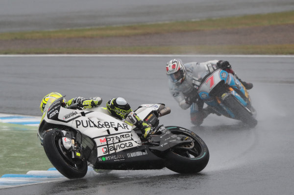 2017 MotoGP Championship - Round 15 Motegi, Japan. Sunday 15 October 2017 Alvaro Bautista, Aspar Racing Team crash World Copyright: Gold and Goose / LAT Images ref: Digital Image 22246