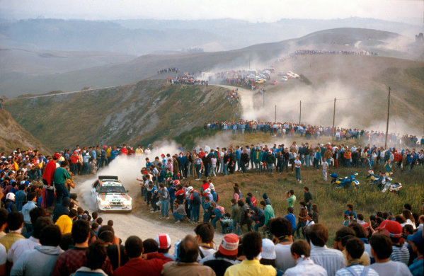 Sanremo Rally, Italy. 13th - 17th October 1986. Rd 11. Dario Cerrato/Geppi Cerri (Lancia Delta S4), 2nd position. World Copyright - LAT Photographic