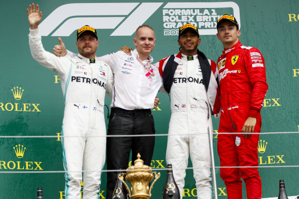 Valtteri Bottas, Mercedes AMG F1, Race winner Lewis Hamilton, Mercedes AMG F1 and Charles Leclerc, Ferrari on the podium