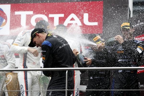 Podium: #6 BLACK FALCON Mercedes-AMG GT3: Abdulaziz Al Faisal, Hubert Haupt, Patrick Assenheimer, Gabriele Piana.