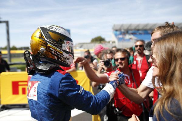 Robert Shwartzman (RUS) PREMA Racing, celebrates victory in parc ferme