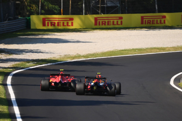 Charles Leclerc, Ferrari SF1000, leads Alexander Albon, Red Bull Racing RB16