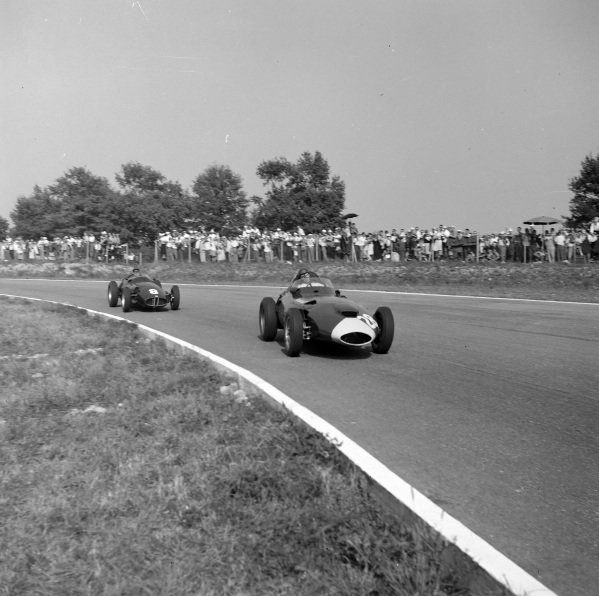 Tony Brooks, Vanwall, leads Jean Behra, BRM P25.