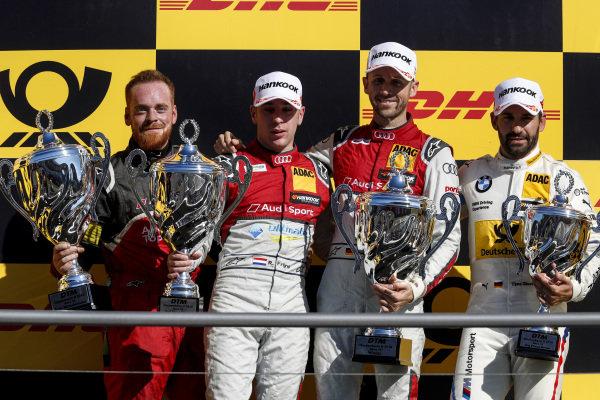 Podium: Race winner René Rast, Audi Sport Team Rosberg, second place Robin Frijns, Audi Sport Team Abt Sportsline and third place Timo Glock, BMW Team RMG.