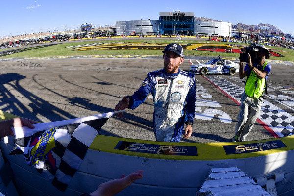 #42: Ross Chastain, Chip Ganassi Racing, Chevrolet Camaro DC Solar celebrates after winning