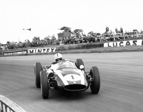 Silverstone, Great Britain. 16th July 1960. Jack Brabham (Cooper T53-Climax), 1st position, action. World Copyright: LAT Photographic. Ref: Autocar Glass Plate C59321.