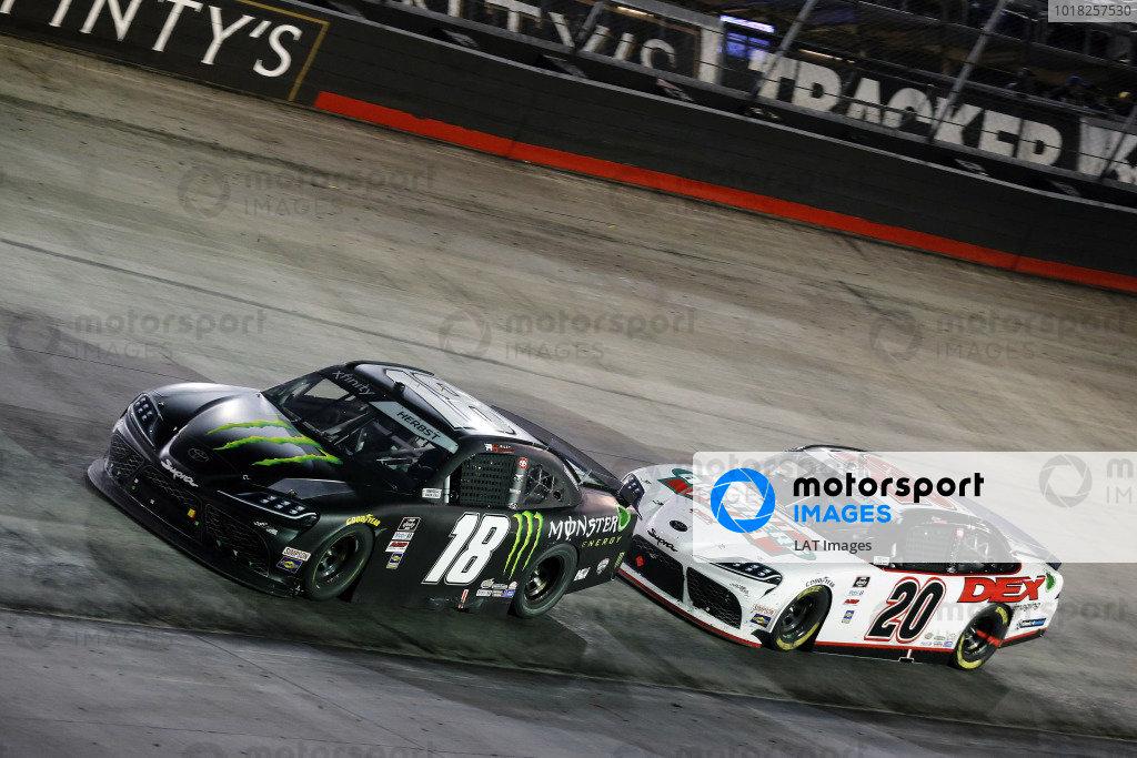 #18: Riley Herbst, Joe Gibbs Racing, Toyota Supra Monster Energy and #20: Harrison Burton, Joe Gibbs Racing, Toyota Supra Hunt Brothers Pizza/DEX Imaging
