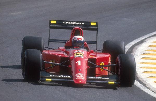 1990 Brazilian Grand Prix.Interlagos, Sao Paulo, Brazil.23-25 March 1990.Alain Prost (Ferrari 641) 1st position.Ref-90 BRA 09.World Copyright - LAT Photographic