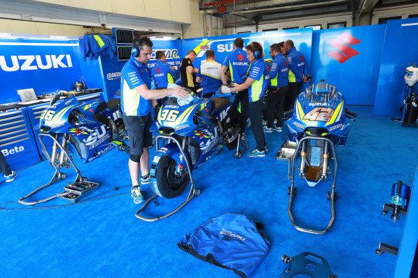 Team Suzuki MotoGP garage.