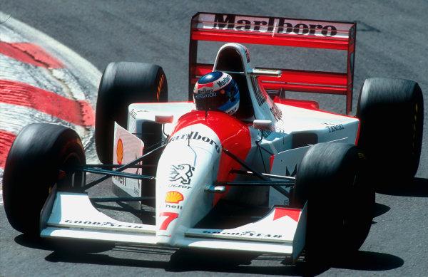 1994 Belgian Grand Prix.Spa-Francorchamps, Belgian.26-28 August 1994.Mika Hakkinen (McLaren MP4/9 Peugeot) 2nd position.Ref-94 BEL 12.World Copyright - LAT Photographic