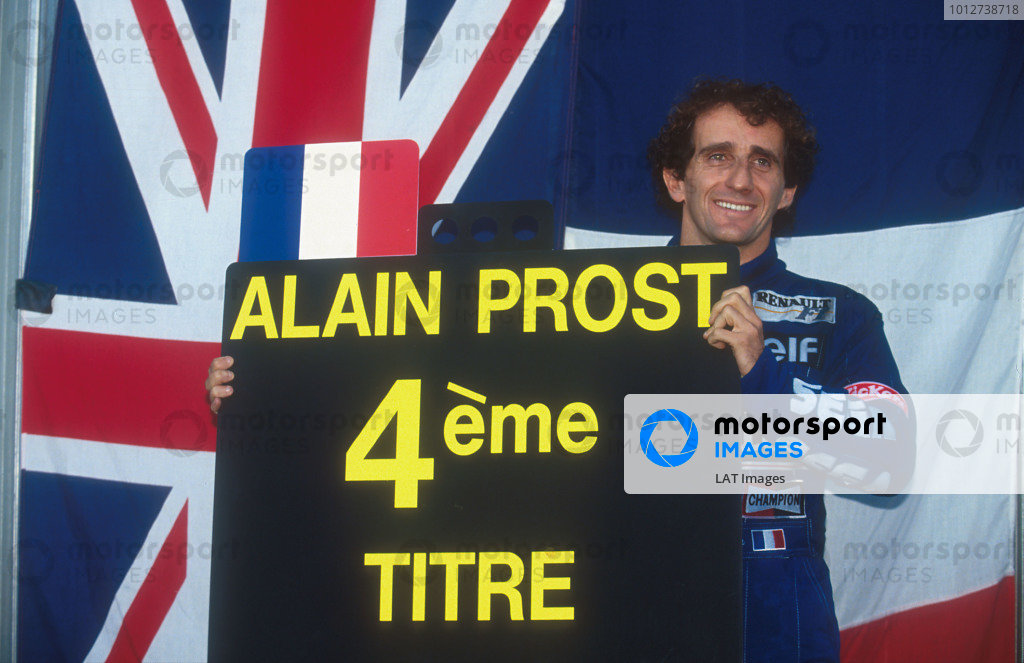 1993 Portuguese Grand Prix.  Estoril, Portugal. 24-26 September 1993.  Alain Prost (Williams Renault) 2nd position in the race and winner of the Drivers World Championship for the fourth time.  Ref: 93POR17. World Copyright - LAT Photographic