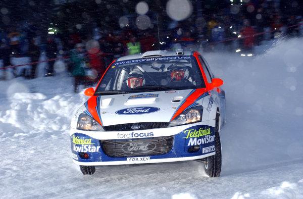 2002 World Rally ChampionshipUddeholm Swedish Rally, 1st-3rd February 2002.Carlos Sainz on stage 1.Photo: Ralph Hardwick/LAT