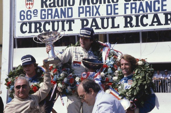 1980 French Grand Prix.Paul Ricard, France.27-29 June 1980.Alan Jones (Williams Ford) 1st position, Didier Pironi 2nd position and Jacques Lafitte 3rd position (Both Ligier Ford) on the podium.Ref-80 FRA 13.World Copyright - LAT Photographic