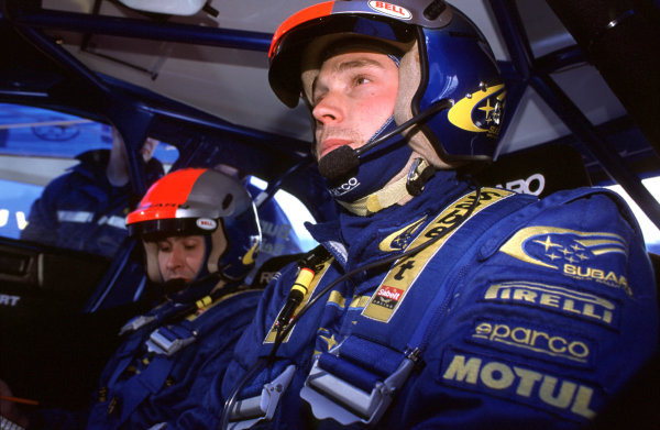 2001 World Rally Championship Rally Portugal, Portugal. 8th-11th March 2001. Richard Burns and Robert Reid in Subaru, portrait. World Copyright: McKlein / LAT Photographic Ref: Portugal A18