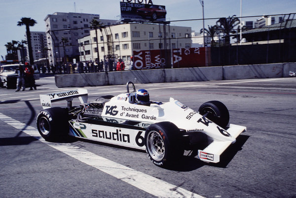 1982 United States Grand Prix West.Long Beach, California, USA.2-4 April 1982.Keke Rosberg (Williams FW07C Ford) 2nd position.Ref-82 LB 49.World Copyright - LAT Photographic