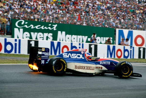 Magny-Cours, France. 2-4 July 1993.Rubens Barrichello (Jordan 931-Hart), 7th position, action. World Copyright: LAT Photographic.Ref:  Colour Transparency.