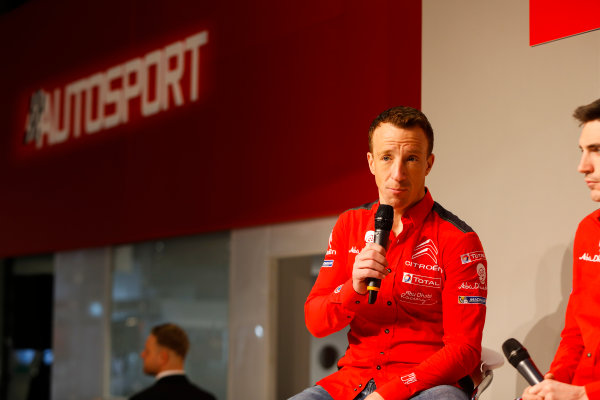 Autosport International Exhibition. National Exhibition Centre, Birmingham, UK. Friday 12th January 2018. Kris Meeke and Craig Breen of Citroen talk to Henry Hope-Frost on the Autosport Stage. World Copyright: Joe Portlock/LAT Images Ref: _U9I0391