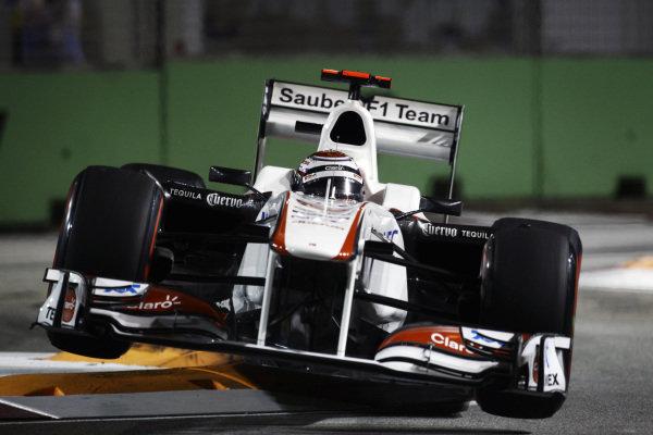 Kamui Kobayashi (JPN) Sauber C30. Formula One World Championship, Rd 14, Singapore Grand Prix, Qualifying Day, Marina Bay Street Circuit, Singapore, Saturday 24 September 2011.  BEST IMAGE