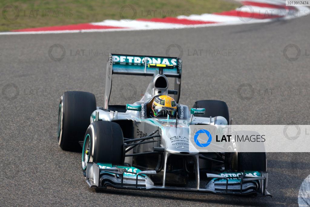 Shanghai International Circuit, Shanghai, China Sunday 14th April 2013 Lewis Hamilton, Mercedes W04.  World Copyright: Alastair Staley/LAT Photographic ref: Digital Image _R6T2068