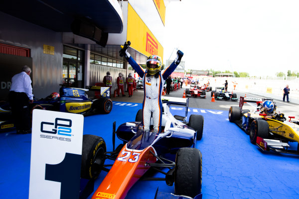 2014 GP2 Series Round 2 - Race 1. Circuit de Catalunya, Barcelona, Spain. Saturday 10 May 2014. Johnny Cecotto (VEN, Trident), celebrates his win Photo: Malcolm Griffiths/GP2 Series Media Service. ref: Digital Image F80P2108