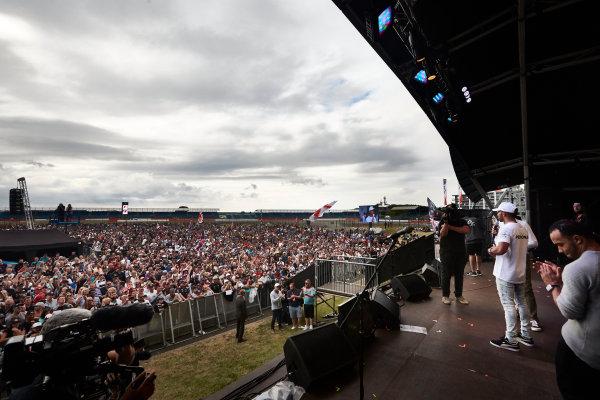 Silverstone, Northamptonshire, UK.  Sunday 16 July 2017. Lewis Hamilton, Mercedes AMG, on stage. World Copyright: Steve Etherington/LAT Images  ref: Digital Image SNE10592