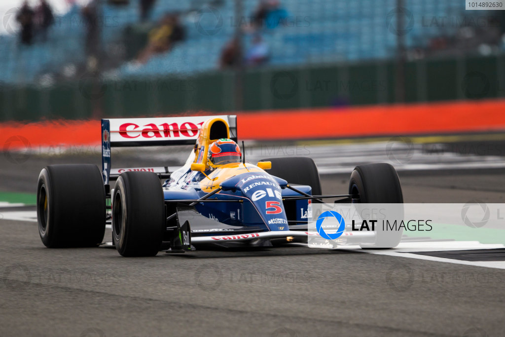 Silverstone, Northamptonshire, UK.  Saturday 15 July 2017. Karun Chandhok drives the Championship winning Williams FW14B Renault, raced in 1992 by Nigel Mansell, as part of the Williams 40th Anniversary celebrations. World Copyright: Dom Romney/LAT Images  ref: Digital Image GT2R3302