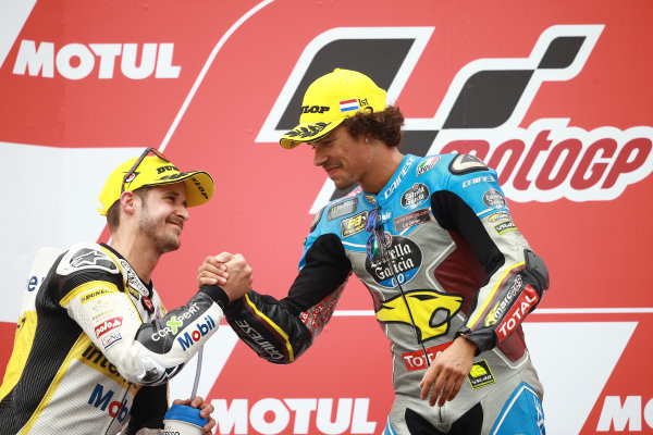 2017 Moto2 Championship - Round 8 Assen, Netherlands Sunday 25 June 2017 Podium: second place Thomas Luthi, CarXpert Interwetten, Race winner Franco Morbidelli, Marc VDS World Copyright: David Goldman/LAT Images ref: Digital Image 680208