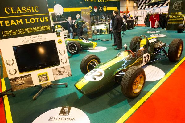 Autosport International Exhibition. National Exhibition Centre, Birmingham, UK. Thursday 8 January 2015. Jim Clarks Lotus on the Classic Team Lotus stand. World Copyright: Mike Holyer/Jakob Ebrey/LAT Photographic. ref: Digital Image EL0G2121