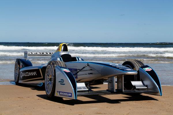 FIA Formula E Test Day. Formula E Car on the beach. Punta Del Este, Uruguay, South America. Formula E Third Race Event, 11th - 14th December 2014. Sunday 14 December 2014.  Photo: Adam Warner/LAT/FE ref: Digital Image _L5R5172