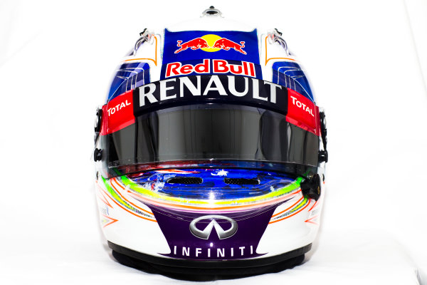 Circuito de Jerez, Jerez, Spain. Tuesday 3 February 2015. Helmet of Daniel Ricciardo, Red Bull Racing.  World Copyright: Red Bull Racing (Copyright Free FOR EDITORIAL USE ONLY) ref: Digital Image 2015_RED_BULL_HELMET_12