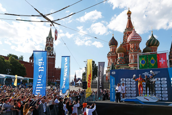 2014/2015 FIA Formula E Championship.  Nelson Piquet Jr (BRA)/China Racing - Spark-Renault SRT_01E, Lucas di Grassi (BRA)/Audi Abt Sport - Spark-Renault SRT_01E & Sebastien Buemi (SWI)/E.dams Renault - Spark-Renault SRT_01E on the podium Moscow e-Prix, Moscow, Russia. Saturday 6 June 2015.  Photo: Sam Bloxham/LAT/Formula E ref: Digital Image _SBL5944
