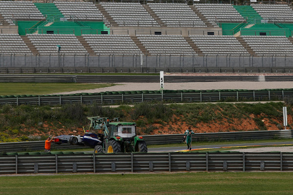 2015 GP3 Series Test 2 - Circuit Ricardo Tormo, Valencia, Spain. Friday 10 April 2015. Matthew Parry (GBR, Koiranen GP), stops on track Photo: Sam Bloxham/GP3 Series Media Service. ref: Digital Image _SBL5295