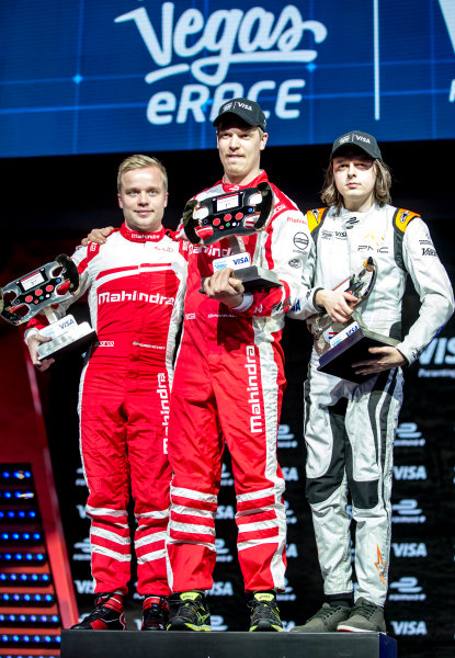 2016/2017 FIA Formula E Championship. Vegas eRace, Las Vegas, Nevada, United States of America. Sunday 8 January 2017. Podium, 3rd Place, Felix Rosenqvist, Mahindra Racing, 1st Place, Olli Pahkala, Mahindra Racing and 2nd Place, Bono Huis, Faraday Future Dragon Racing. Photo: Zak Mauger/LAT/Formula E ref: Digital Image _L0U7555