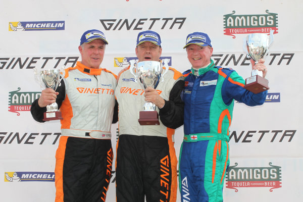 Ginetta GT4 Supercup, Silverstone, 17th-18th September 2016, Podium, Grahame Tilley (GBR) Raw Motorsport Ginetta G55, Fraser Robertson (GBR) Ginetta G55, Chris Ingram (GBR) Douglas Motorsport Ginetta G55. World Copyright. Ebrey/LAT Photographic