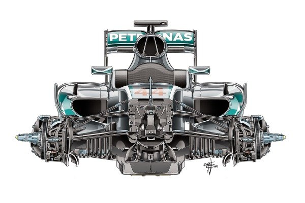 Mercedes F1 W07 chassis detail