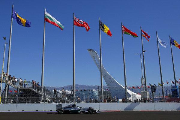 Nico Rosberg (GER) Mercedes AMG F1 W05. Formula One World Championship, Rd16, Russian Grand Prix, Qualifying, Sochi Autodrom, Sochi, Krasnodar Krai, Russia, Saturday 11 October 2014.