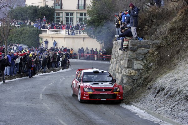 2006 FIA World Rally Champs. Round One, Monte Carlo Rally.19th - 22nd January 2006.Gigi Galli, Mitsubishi. Action.World Copyright: McKlein/LAT
