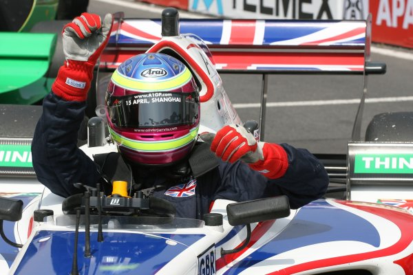 25.03 2007 Mexico City, Mexico, Oliver Jarvis , Driver of A1Team Great Britain celebrates 2nd position in the sprint race - A1GP World Cup of Motorsport 2006/07, Round 9, Mexico City, Sunday Race 1 - Copyright A1GP Team Great Britain - Copyright free for editorial usage