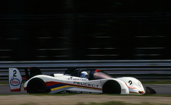 Philippe Alliot (FRA) / Mauro Baldi (ITA), Peugeot 905 Evo 1B, did not finish. Sportscar World Championship, Rd1, 500km of Monza, Monza, Italy, 26 April 1992.