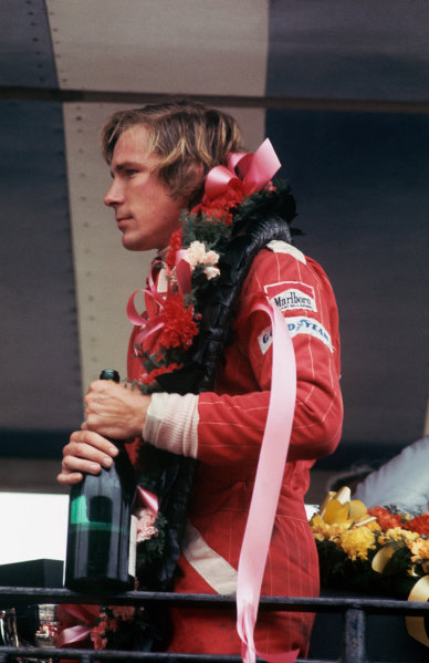 Brands Hatch, England. 14th March 1976. James Hunt (McLaren M23 Ford), 1st position, podium, portrait.  World Copyright: LAT Photographic.  Ref:  76 ROC 03.