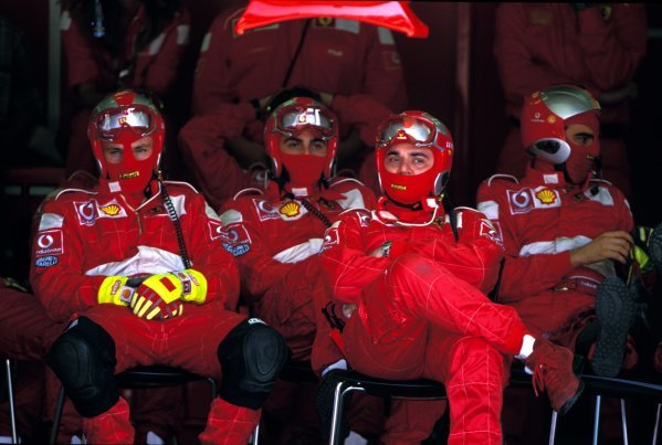 The Ferrari mechanics were thrilled by the action.
