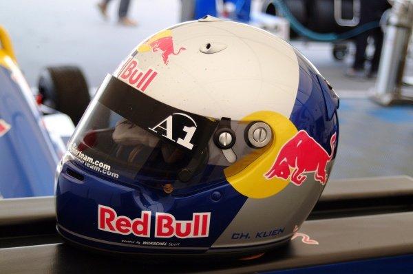 The helmet of Christian Klien (AUT) JD Motorsport.German Formula Renault Championship, Rd6, Races 11 and 12, Nurburgring, Germany. 22 September 2002.DIGITAL IMAGE