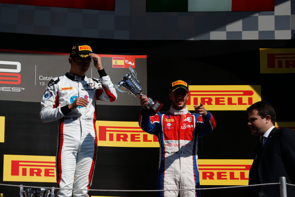 2016 GP3 Series Round 1 Circuit de Catalunya, Barcelona, Spain. Sunday 15 May 2016.Alexander Albon (THA, ART Grand Prix) & Antonio Fuoco (ITA, Trident)  Photo: Sam Bloxham/GP3 Series Media Service. ref: Digital Image _R6T9480